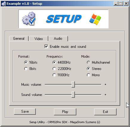SetupProject Audio tab